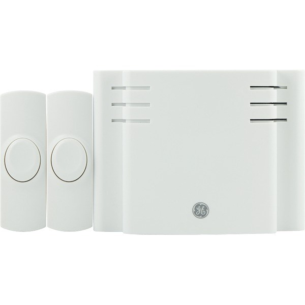 GE 19297 Battery-Operated 8-Melody Door Chime with 2 Pushbuttons