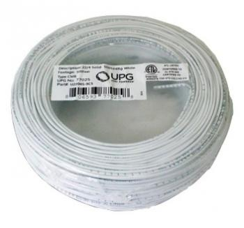 UPG 77025 22-Gauge, 4-Conductor Alarm White Cable, 500ft Coil Pack (Solid)