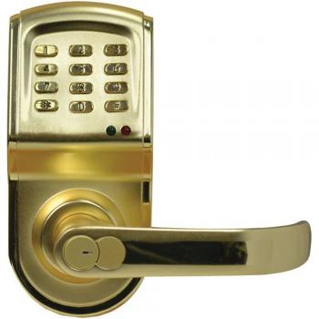 Linear 212LS Polished Brass Keypad & Key Door Handle Right Hand Opening (LIN212LSCUSCR)